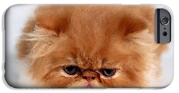 Animal Photograph Mixed Media iPhone Cases - Persian Kitten Painting iPhone Case by Marvin Blaine