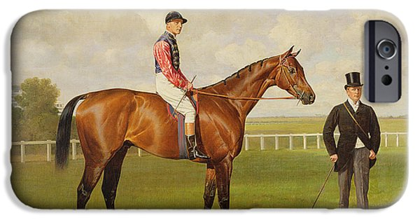 The Horse iPhone Cases - Persimmon Winner of the 1896 Derby iPhone Case by Emil Adam