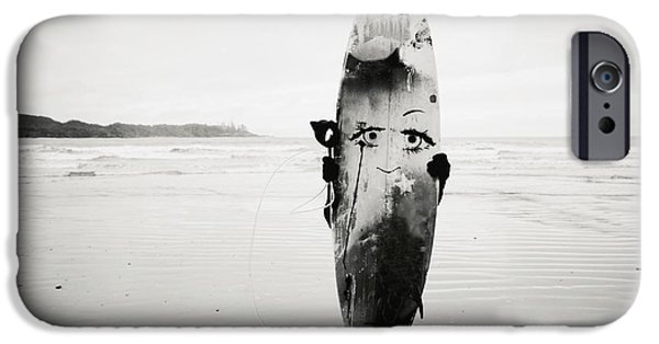 Youthful iPhone Cases - Person Holding Surfboard iPhone Case by Helene Cyr