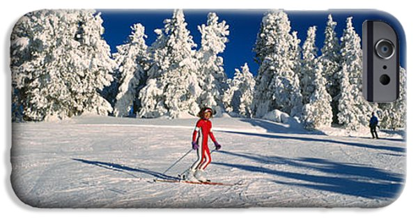 Freedom iPhone Cases - Person Skiing In Snow Covered Landscape iPhone Case by Panoramic Images