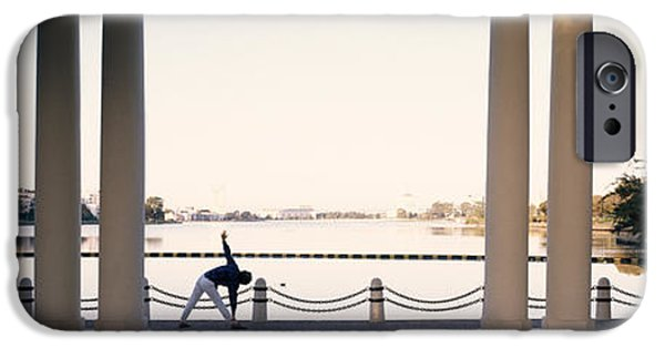 Self-improvement iPhone Cases - Person Stretching Near Colonnade, Lake iPhone Case by Panoramic Images