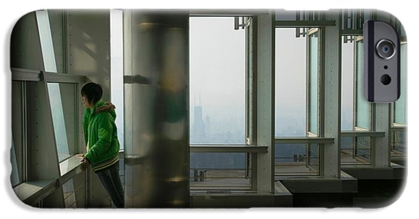 Balcony iPhone Cases - Person Viewing A City From Observation iPhone Case by Panoramic Images