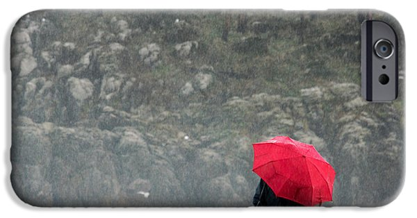 Rainy Day iPhone Cases - Person With Red Umbrella On A Rainy Day iPhone Case by Mikel Martinez de Osaba