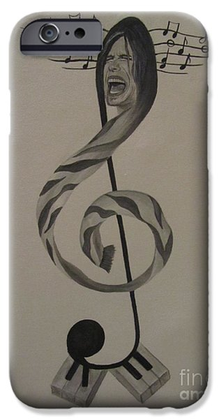 Steven Tyler Paintings iPhone Cases - Personification Of Music iPhone Case by Jeepee Aero