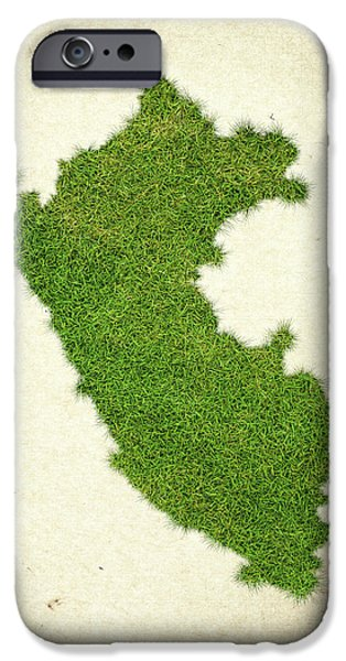 Waste Water iPhone Cases - Peru Grass Map iPhone Case by Aged Pixel