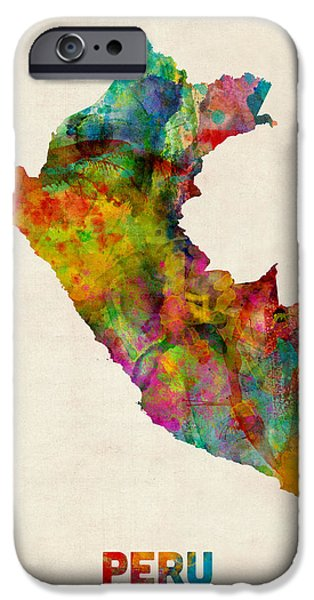 Maps - iPhone Cases - Peru Watercolor Map iPhone Case by Michael Tompsett