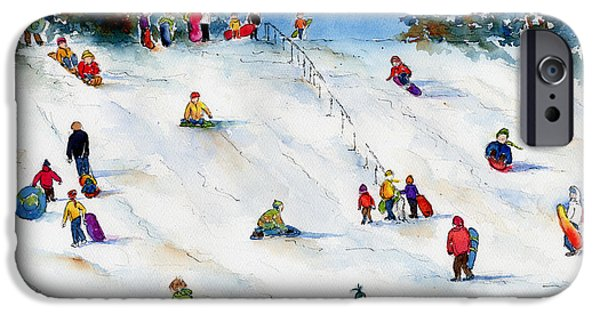 Tobogganing iPhone Cases - Pest Hill iPhone Case by Pat Katz