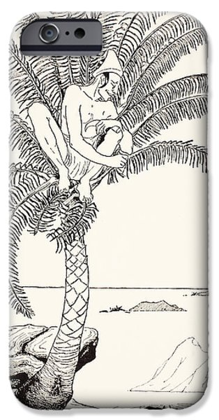 Pestonjee Bomonjee sitting in his palm-tree and watching the Rhinoceros Strorks bathing iPhone Case by Joseph Rudyard Kipling