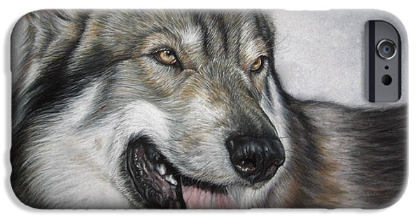 Huskies Pastels iPhone Cases - PET PORTRAIT 16x12 in Tamaskan Wolfdog iPhone Case by Ksenija Mijokovic