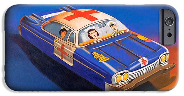 Ambulance iPhone Cases - Pete and Harriet Ride Again iPhone Case by Karl Melton