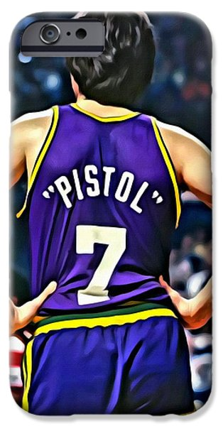 Utah Jazz iPhone Cases - Pete Maravich iPhone Case by Florian Rodarte