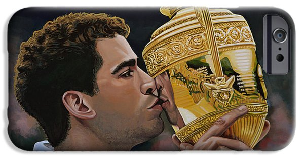 Summer Sports Paintings iPhone Cases - Pete Sampras iPhone Case by Paul Meijering
