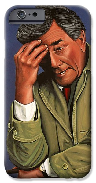 Realistic Art iPhone Cases - Peter Falk as Columbo iPhone Case by Paul Meijering