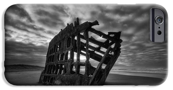 Beach Landscape iPhone Cases - Peter Iredale Shipwreck Black and White iPhone Case by Mark Kiver