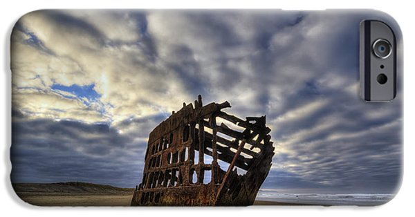 Rust iPhone Cases - Peter Iredale Shipwreck Sunrise iPhone Case by Mark Kiver
