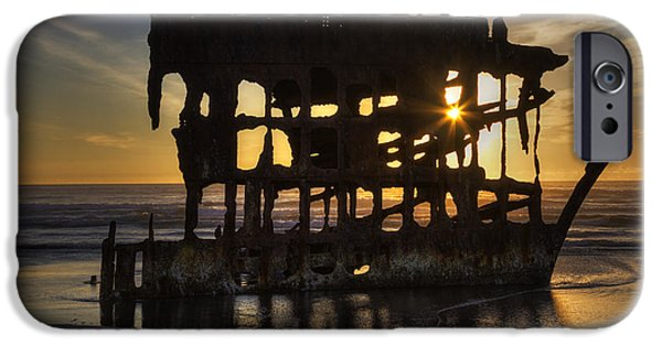 Spit iPhone Cases - Peter Iredale Shipwreck Sunset iPhone Case by Mark Kiver