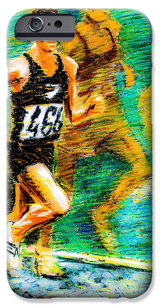 Racing Pastels iPhone Cases - Peter Snell of New Zealand iPhone Case by Dariusz Janczewski