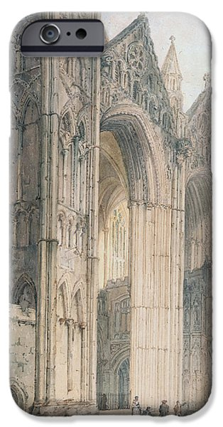 On Paper Paintings iPhone Cases - Peterborough Cathedral iPhone Case by Thomas Girtin