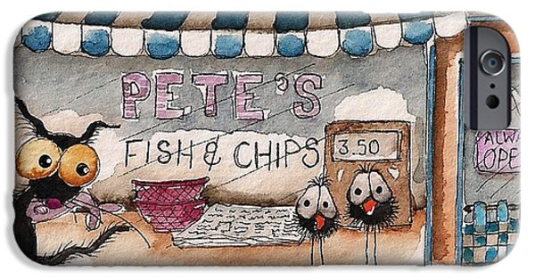 Store Fronts Paintings iPhone Cases - Petes Fish and Chips iPhone Case by Lucia Stewart