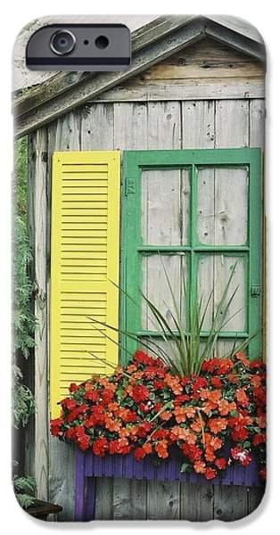 Cabin Window iPhone Cases - Petoskey Window-n-Time iPhone Case by Julie Ketchman