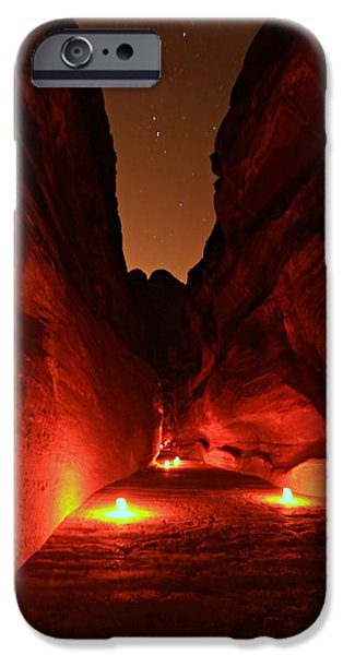 Bedouin iPhone Cases - Petra Night Walk iPhone Case by Stephen Stookey
