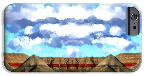 Mounds Paintings iPhone Cases - Petrified Arizona Panorama iPhone Case by Bruce Nutting