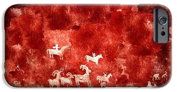 Mooses Tooth iPhone Cases - Petroglyphs iPhone Case by Duende Artworks