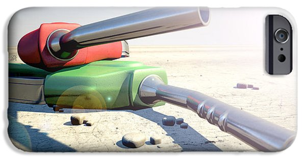 Fuels iPhone Cases - Petrol Nozzles In The Desert iPhone Case by Allan Swart