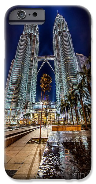 Nighttime iPhone Cases - Petronas Twin Towers iPhone Case by Adrian Evans