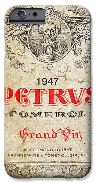 Red Wine iPhone Cases - Petrus Wine  iPhone Case by Jon Neidert
