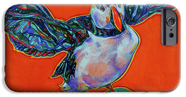Vivid Colour Paintings iPhone Cases - Petty Harbour Puffin iPhone Case by Derrick Higgins
