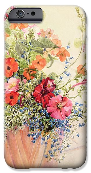 Pottery Paintings iPhone Cases - Petunias Lobelias Busy Lizzies and Fuschia in a Terracotta Pot iPhone Case by Joan Thewsey