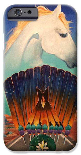 Recently Sold -  - Concept Paintings iPhone Cases - Peyote Road iPhone Case by Sean Begaye