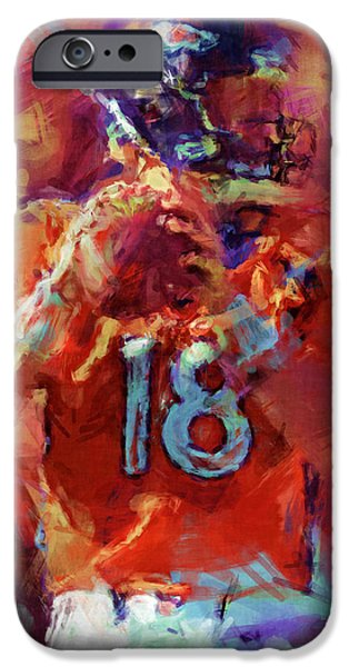 Athlete Digital Art iPhone Cases - Peyton Manning Abstract 3 iPhone Case by David G Paul