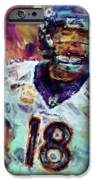 Peyton Manning Abstract 6 iPhone Case by David G Paul