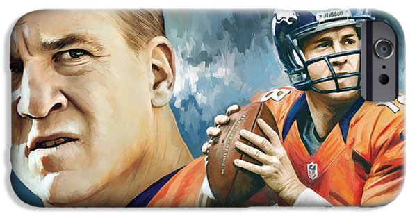 Quarterback iPhone Cases - Peyton Manning Artwork iPhone Case by Sheraz A