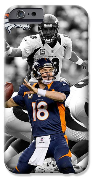 Balls Photographs iPhone Cases - Peyton Manning Broncos iPhone Case by Joe Hamilton