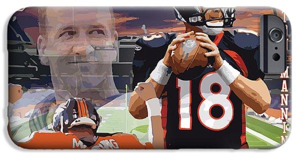 Dan Marino iPhone Cases - Peyton Manning iPhone Case by Israel Torres