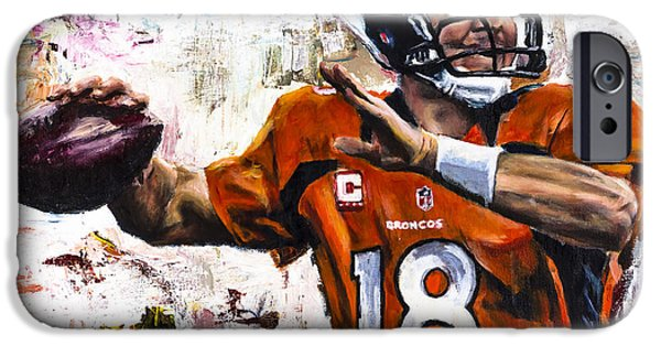 Legend iPhone Cases - Peyton Manning iPhone Case by Mark Courage