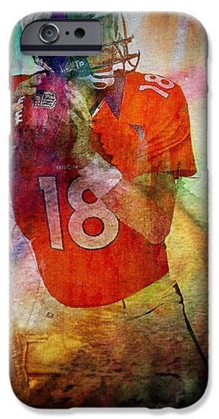 Michael Mixed Media iPhone Cases - Peyton Manning iPhone Case by M and L Creations