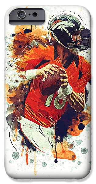 Tom Brady iPhone Cases - Peyton Manning iPhone Case by Taylan Soyturk