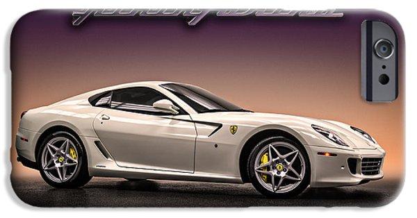White Digital Art iPhone Cases - PF Flyer - Ferrari 599 iPhone Case by Douglas Pittman