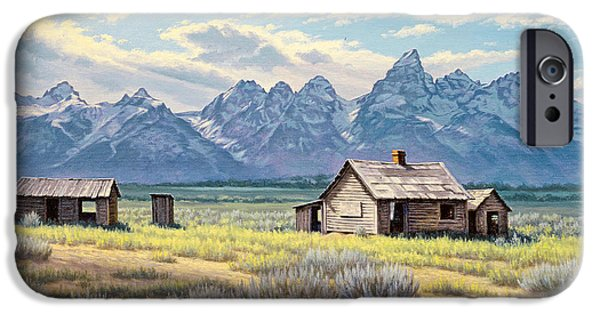 House iPhone Cases - Pfeiffer Homestead-Tetons iPhone Case by Paul Krapf