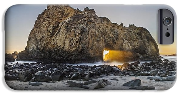 Big Sur Beach iPhone Cases - Pfeiffer Sun Portal iPhone Case by Jeremy Jensen