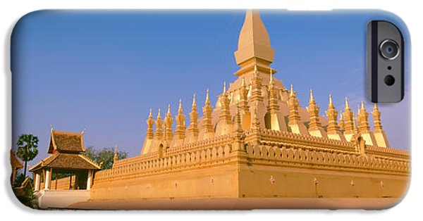 Reconstruction iPhone Cases - Pha That Luang Temple, Vientiane, Laos iPhone Case by Panoramic Images