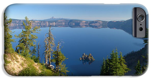 Reflecting Trees iPhone Cases - Phantom Ship Island In Crater Lake iPhone Case by Brian Harig