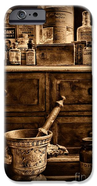 Old Grinders iPhone Cases - Pharmacist  Old Medicine in Black and White iPhone Case by Paul Ward
