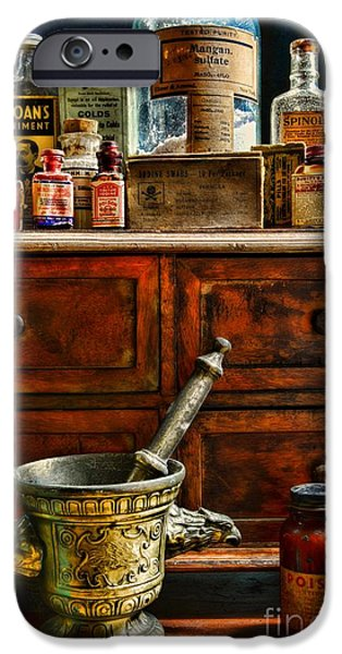 Old Grinders iPhone Cases - Pharmacist  Old Medicine iPhone Case by Paul Ward