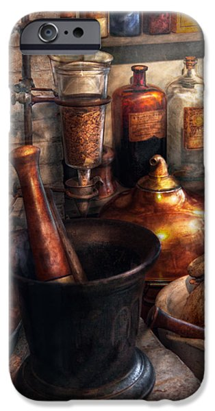 Suburbanscenes iPhone Cases - Pharmacy - Pestle - Pharmacology iPhone Case by Mike Savad