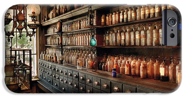 Apothecary iPhone Cases - Pharmacy - So many drawers and bottles iPhone Case by Mike Savad